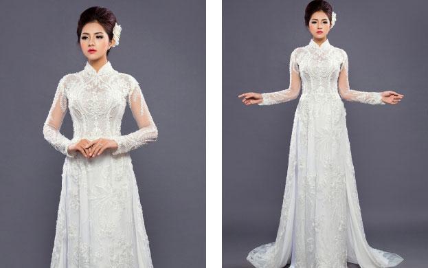 áo dài cho cô dâu màu trắng đơn giản