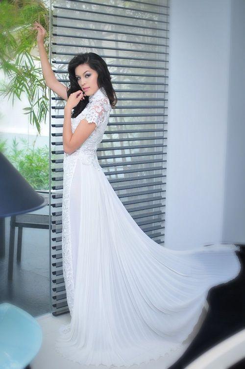 áo dài cách tân màu trắng hiện đại