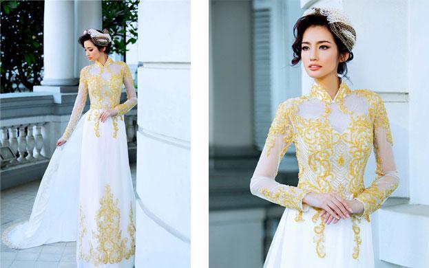 áo dài trắng vàng cô dâu