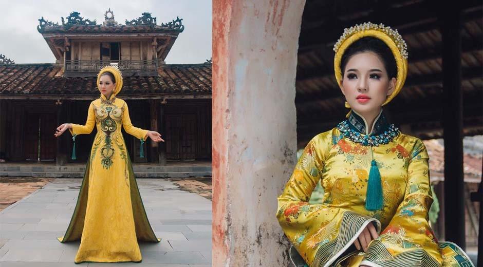 ngắm bst áo dài cưới vải gấm màu vàng đồng