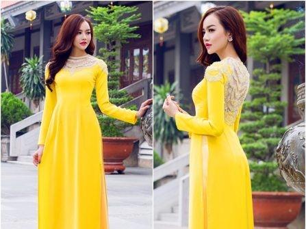 diện áo dài màu vàng tươi trong mùa cưới