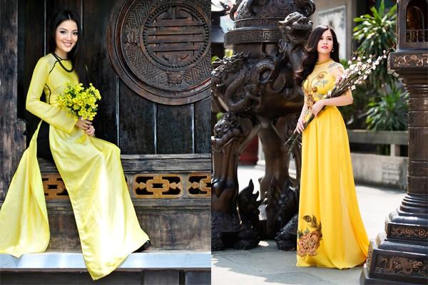 những mẫu áo dài cưới gam màu vàng