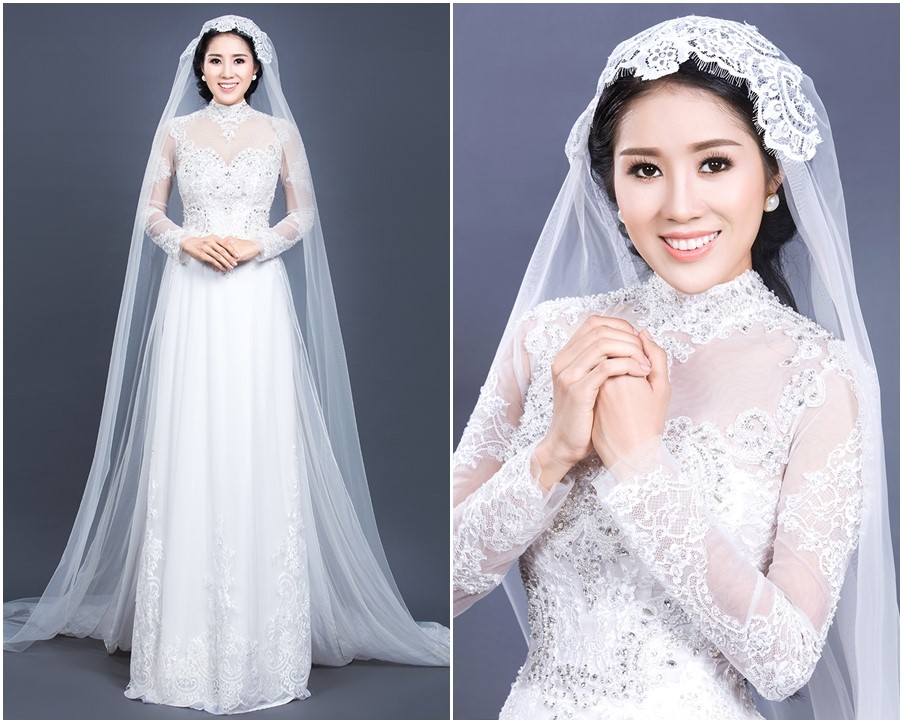 áo dài cô dâu sang trọng ren đá