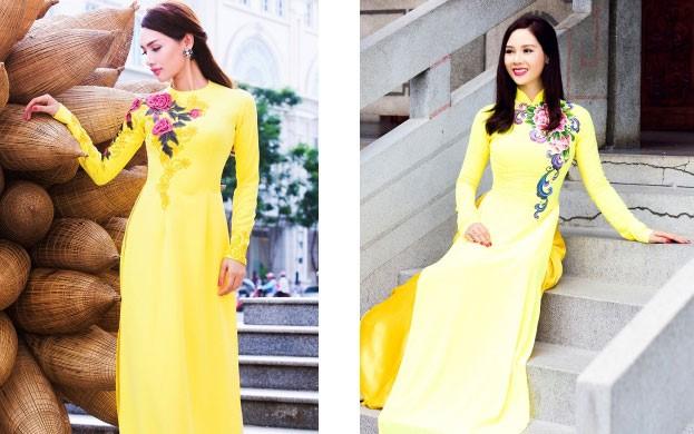 áo dài truyền thống thêu hoa cho ngày cưới