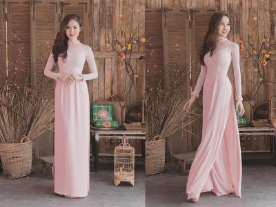 áo dài hồng phấn