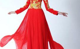 áo dài cưới xếp ly đỏ