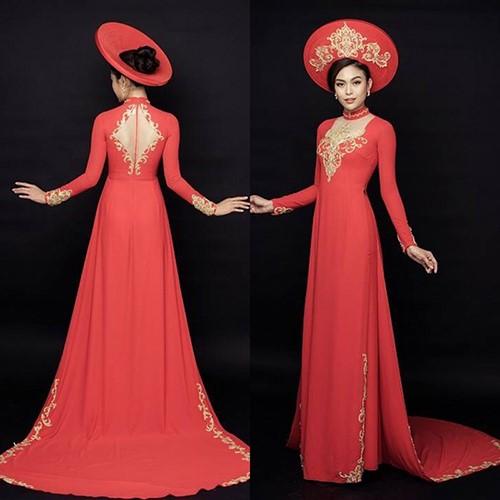 áo dài đỏ cầm hoa cưới màu gì