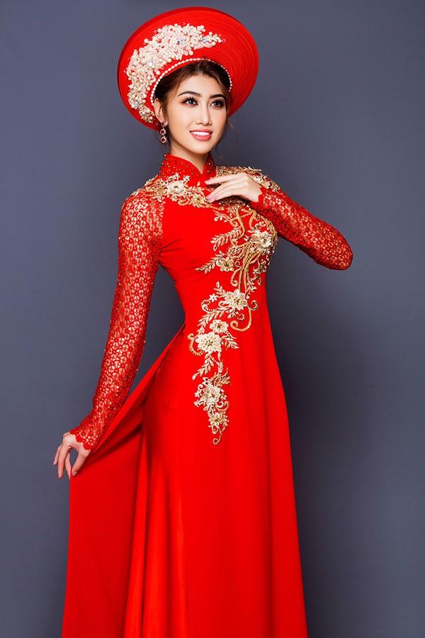 các mẫu áo dài kết hôn màu đỏ