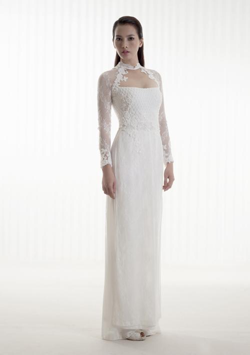 các mẫu áo dài tân nương đẹp màu trắng mới nhất