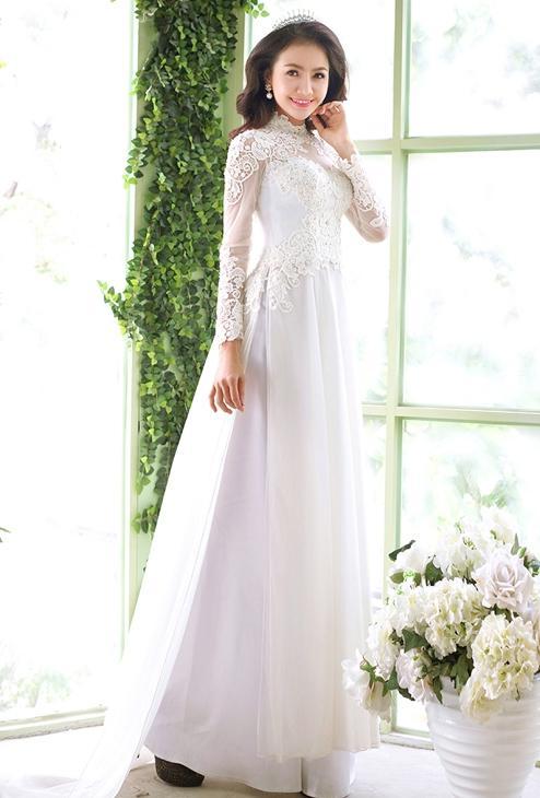 hình ảnh áo dài tân hôn màu trắng