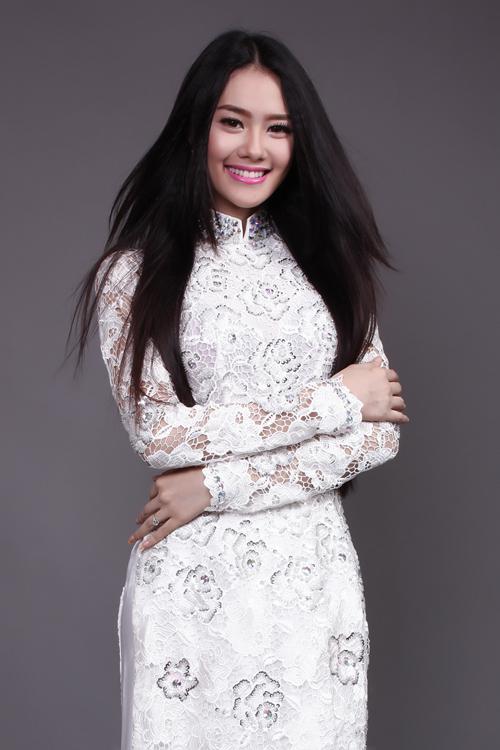 hình áo dài cô dâu màu trắng