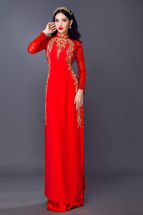 kiểu áo dài màu đỏ