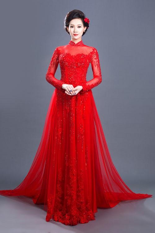 mẫu áo dài màu đỏ cho cô dâu