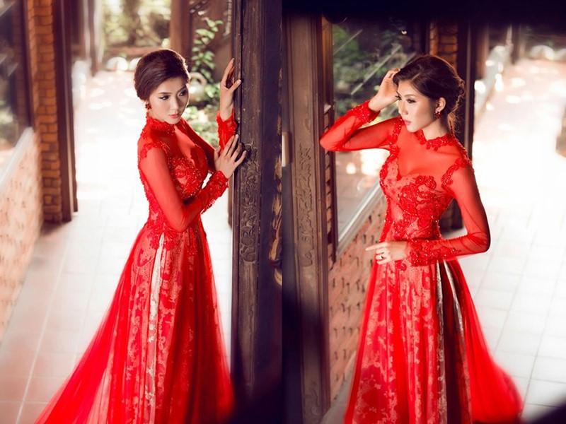 may áo dài cho cô dâu màu đỏ