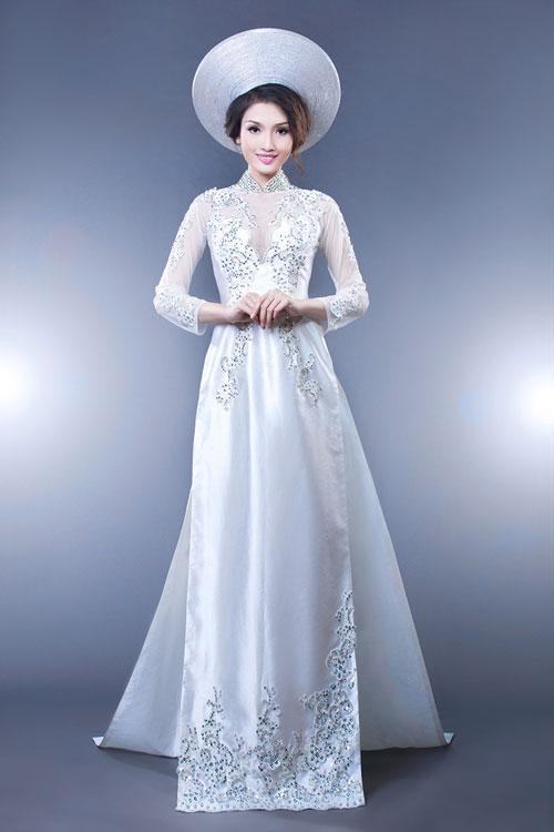 may áo dài cưới màu trắng