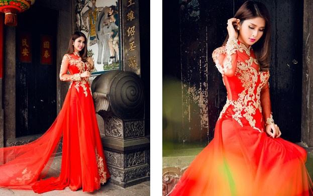 thuê áo dài cô dâu màu đỏ