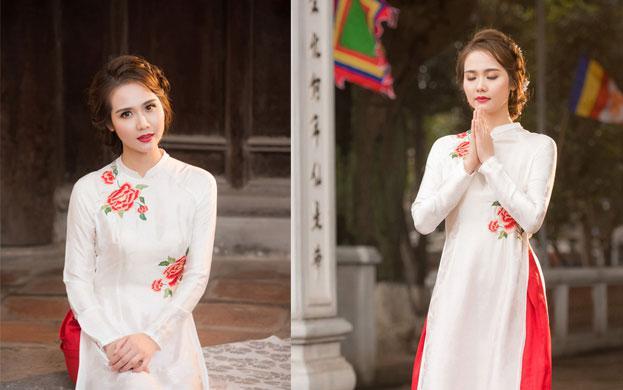thuê áo dài chú rể cô dâu màu trắng
