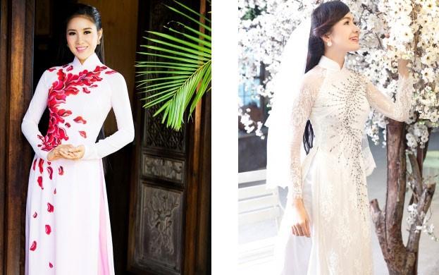 vải áo dài lụa gấm ren thêu cho cô dâu dáng tròn