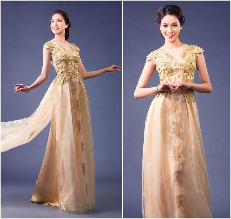 thuê áo dài ngày cưới cách tân cườm họa tiết nổi