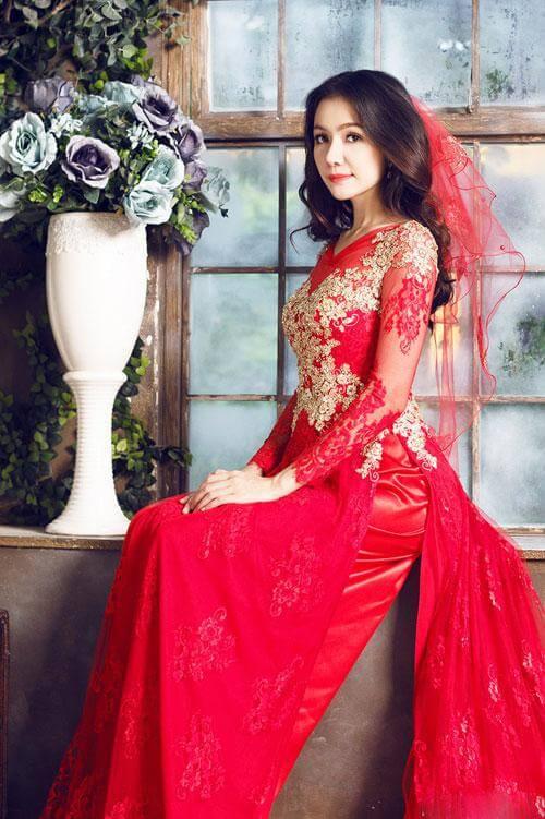áo dài cưới dạ hội lộng lẫy màu đỏ